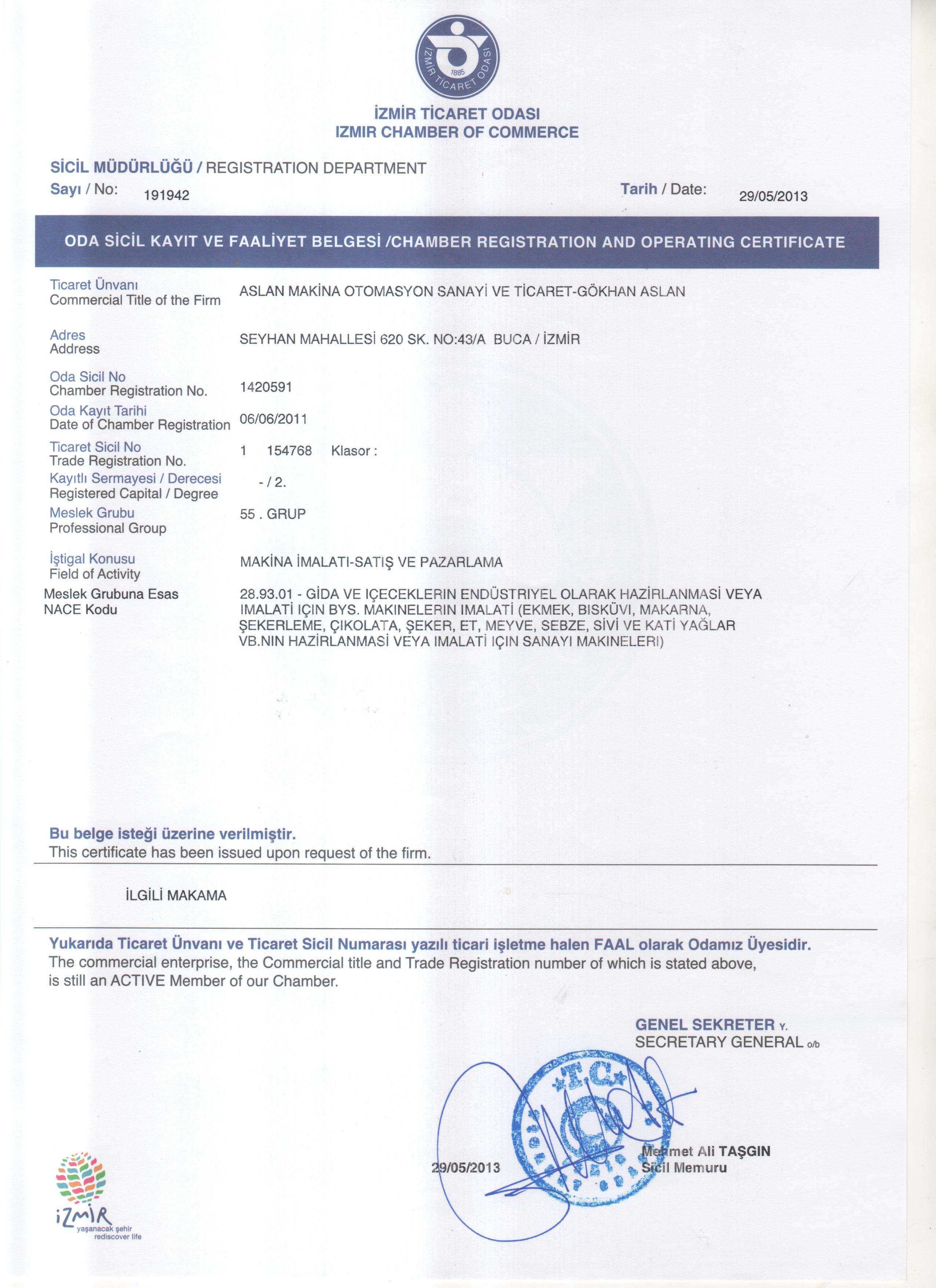 ticaret odası sicil kayıt ve faaliyet belgesi